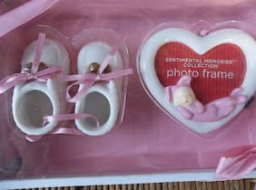 Sentimental Memories Collection Pink & White Baby Shoes and Picture Frame Set