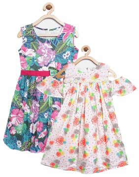 Sera Girls Western Wear Pink & Offwhite Floral Print Fit & Flare Dress for Girls Pack of 2