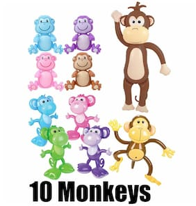 (Set of 10)  Fun Pack Of Monkeys inflatable - inflate Blow up Party Decorations
