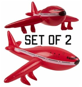 "(Set of 2) 22"" Red Jet Plane - Inflatable Airliner Inflate Toy Party Decoration"