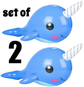 """(Set of 2) 24"""" Blue Narwhal Inflatable Baby Inflate Blow Up Toy Party Decoration"""