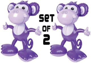 (Set of 2) 24'' Purple Big Footed Monkeys Inflatables  Inflate Party Decorations