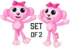 "(Set of 2)  24"" Cute Pink Baby Monkeys inflatable - Inflate Toy Party Decoration"