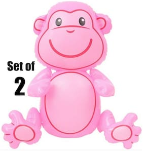 "(Set of 2) 24"" Pink Sitting Monkey Inflatable Baby Inflate Toy Party Decoration"