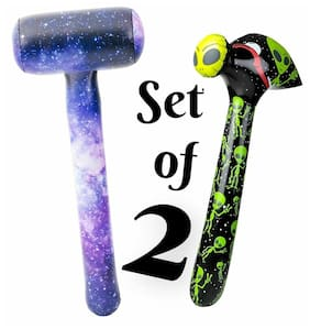 "(Set of 2) 37"" Galaxy Printed Mallet & Alien Hammer Inflatable Party Decoration"
