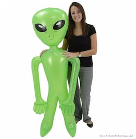 "SET OF 2 HUGE 72"" GREEN ALIEN INFLATE INFLATABLE 6 FEET BLOW UP PROP GAG GIFT"