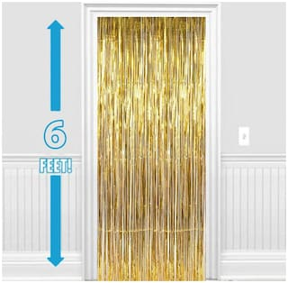 Set of 2 Metallic golden Foil Curtain Fringe Party Decoration Door Curtains, 3 x 6 Feet