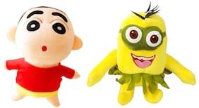 Set Of 2 pcs. Shinchan And Hula Hula Minion 22 Cms. Soft Toy Plush Stuffed Toys