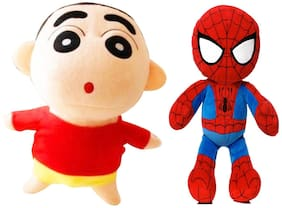 Set Of 2 Pcs. Shinchan And Spiderman 35 Cms. Soft Toy Plush Stuffed Toys
