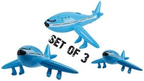 "(Set of 3) 22"" Blue Jet Plane - Inflatable Airliner Inflate Toy Party Decoration"