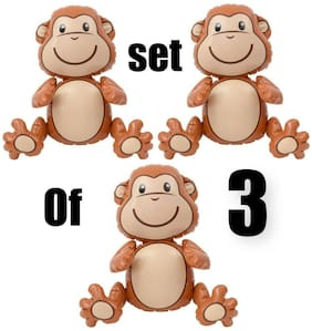 (Set Of 3) 24'' Brown Sitting Monkeys Inflatable Inflate Blow Party Decorations