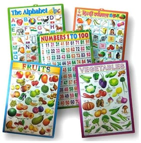 Set of 5 - 3D Emboss Kids Learning Wall Charts (English Alphabets, Hindi Varnmala, Numbers 1 to 100, Fruits & Vegetables)