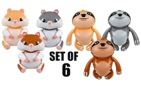"(Set Of 6) 24"" Hamsters & Sloths Inflatable - Inflate Blow Toy Party Decoration"