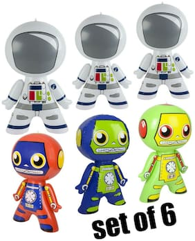 "(Set of 6) 3 - 24"" Astronauts & 3 Robots Inflatable Inflate Toy Party Decoration"