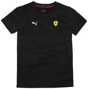 Puma Boy Cotton Solid T-shirt - Black