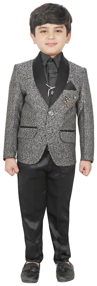 SG YUVRAJ Coat pants with Waistcoat;Shirt and Tie For Boys (Black;Grey)
