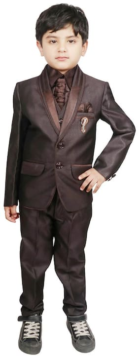 SG YUVRAJ Coat Pant with Waistcoat set For Boys (Brown)