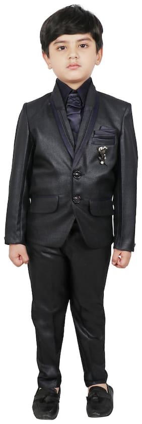 SG YUVRAJ Coat pants with;Shirt and Tie For Boys (Blue;Black)