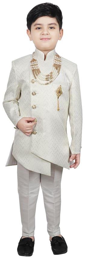 SG YUVRAJ Boy Cotton blend Embellished Sherwani - Cream