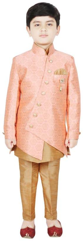 SG YUVRAJ Boy Art silk Printed Kurta pyjama set - Orange & Gold