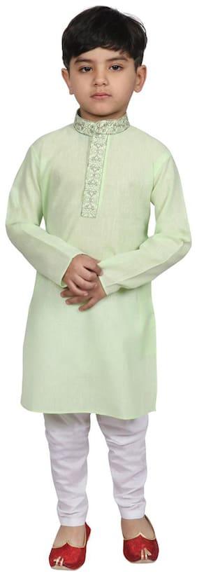 SG YUVRAJ Boy Cotton Solid Kurta pyjama set - Green
