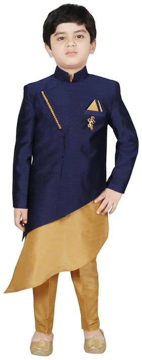 SG YUVRAJ Boy Raw silk Solid Kurta pyjama set - Blue & Beige