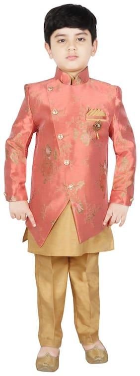 SG YUVRAJ Boy Brocade Floral Kurta pyjama set - Orange & Gold