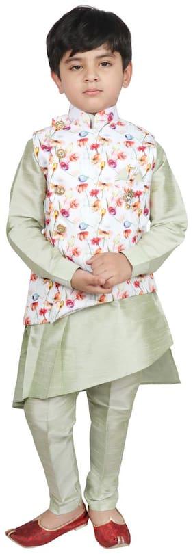 SG YUVRAJ Boy Cotton Printed Kurta pyjama set - Green & White