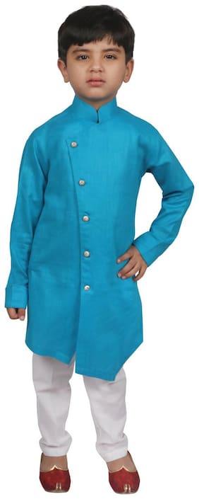 SG YUVRAJ Boy Cotton blend Solid Kurta pyjama set - Blue