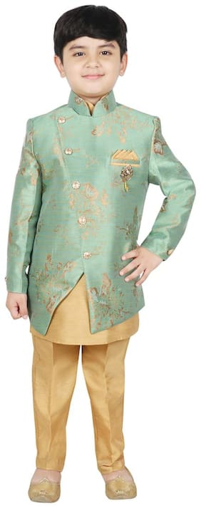 SG YUVRAJ Boy Brocade Floral Kurta pyjama set - Green & Gold