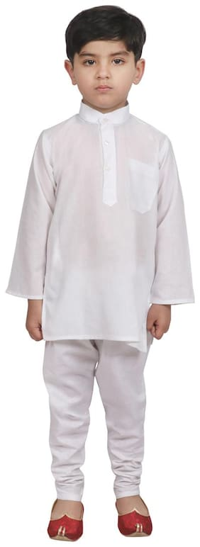 SG YUVRAJ Boy Cotton Solid Kurta pyjama set - White