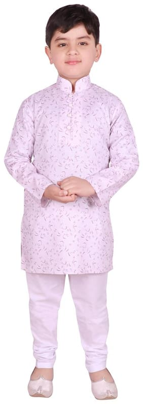 SG YUVRAJ Boy Cotton Printed Kurta pyjama set - Pink & White