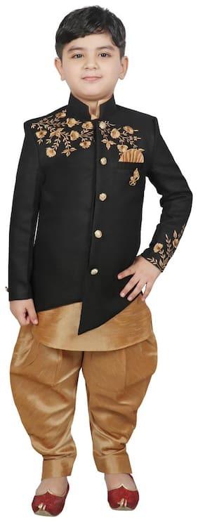 SG YUVRAJ Boy Cotton Printed Kurta pyjama set - Black & Gold