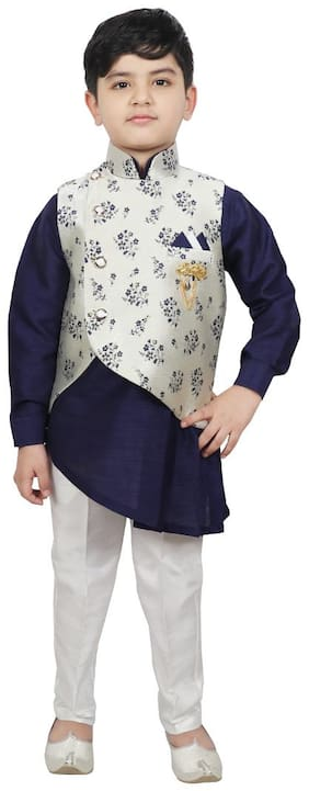 SG YUVRAJ Boy Raw silk Printed Kurta pyjama set - Blue & White