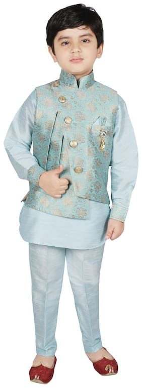 SG YUVRAJ Boy Brocade Solid Kurta pyjama set - Blue