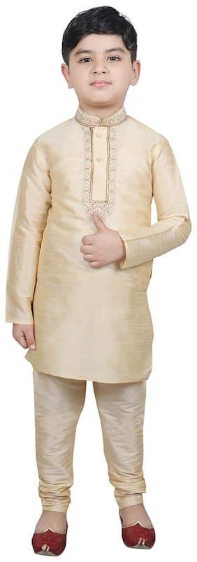 SG YUVRAJ Boy Cotton Solid Kurta pyjama set - Beige
