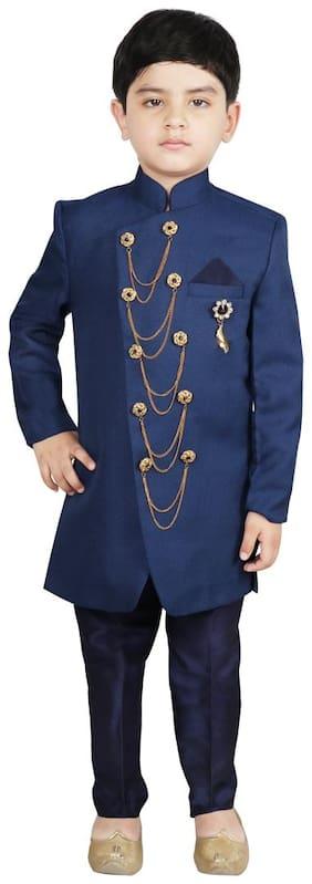 SG YUVRAJ Boy Polyester Solid Sherwani - Blue
