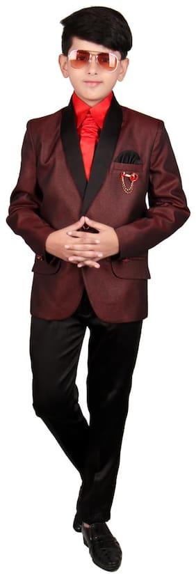 SG Boy Polyester Solid Ethnic jacket - Maroon
