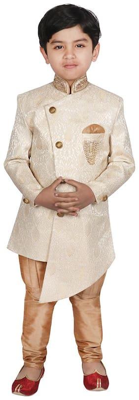 SGYUVRAJ Boy Brocade Self design Ethnic jacket - Cream