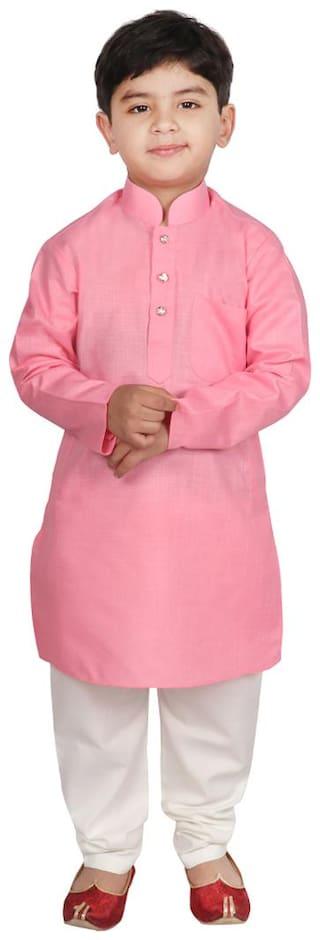 SGYUVRAJ Boy Cotton blend Solid Kurta pyjama set - Pink
