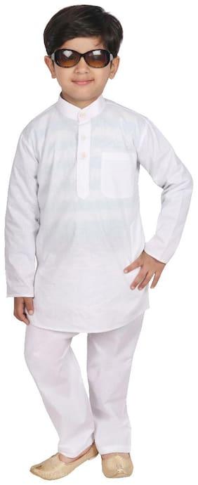 SGYUVRAJ Boy Cotton Solid Kurta pyjama set - White