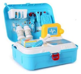 Shanaya 17 Pcs Pretend Play Doctor Medical Play Set Backpack Toy For Kids - Blue