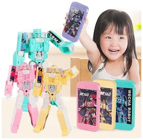 Shanaya 2-in-1 Mobile Phone Toy for Kids with Light & Music;Robot Assembling Educational Toys for Early Ages;Transformable Toy (Assorted Colors WILLBE Sent)