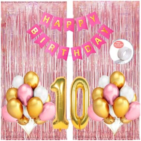 SHANAYA 35 Pieces Happy Birthday Party Decorations Combo Kit Set With Happy Birthday Bunting Banner Pink White Gold Metallic Balloons Number 10 Gold Foil Balloon Glue Dot Rose Gold Fringe Curtains