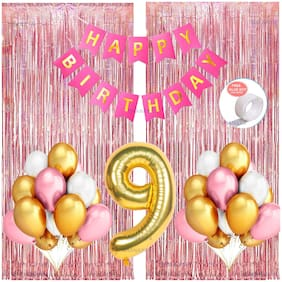 SHANAYA 35 Pieces Happy Birthday Party Decorations Combo Kit Set With Happy Birthday Bunting Banner Pink White Gold Metallic Balloons Number 9 Gold Foil Balloon Glue Dot Rose Gold Fringe Curtains