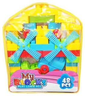 Shanaya 48 pcs Building Blocks Set Learning Educational toy for kids with stickers (multicolor big size blocks)  (Multicolor)