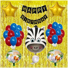 SHANAYA 48 Pcs Birthday Party Decoration Kit Combo Supplies Zebra Theme Includes Zebra Head Foil Star Metallic And Round Printed Foil Banner Glue Dot Gold Fringe Curtains For Boys Girls