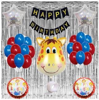SHANAYA 48 Pcs Birthday Party Decoration Kit Combo Supplies Giraffe Theme Includes Giraffe Head Foil Star Metallic And Round Printed Foil Banner Glue Dot Silver Fringe Curtains For Boys Girls