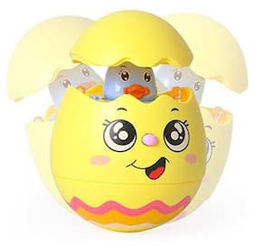 Shanaya Battery Operated Push and Shake Wobbling Rolly Polly Tumbler Musical Egg Toy for early years of Kids (Assorted)