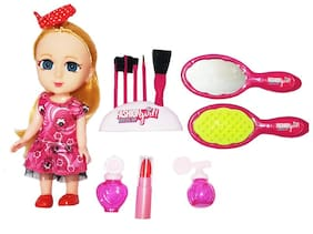 SHANAYA Cute Baby Doll with 3D Eyes, Shining Dress & Beauty Accessories Doll Set for Girls (Assorted Models)